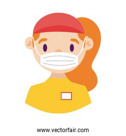 female delivery worker using face mask detailed style