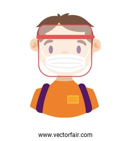 delivery worker using face mask detailed style