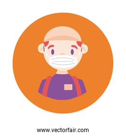delivery worker using face mask block style