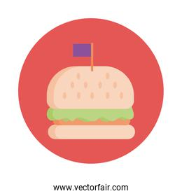 delicious burger fast food block style icon