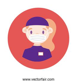 female delivery worker using face mask block style