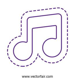 Cute music note patch line style icon vector design