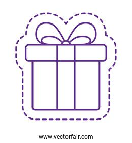 Cute gift patch line style icon vector design