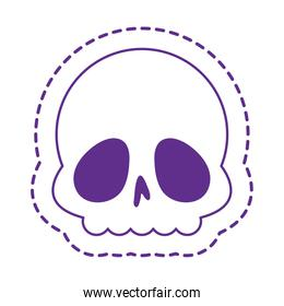 Cute skull patch line style icon vector design