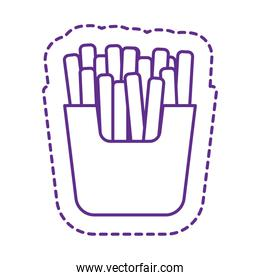 Cute french fries patch line style icon vector design