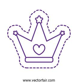 Cute crown patch line style icon vector design