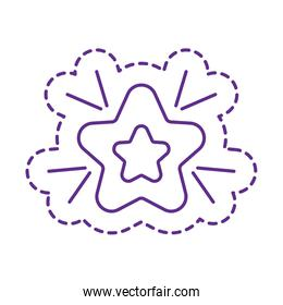 Cute star patch line style icon vector design