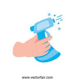 the hand holds the digital thermometer on white background