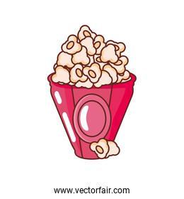 popcorn in container on white background