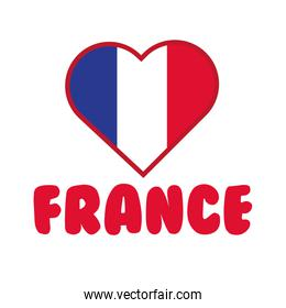 heart with france flag hand draw style icon