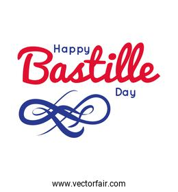 bastille day lettering hand draw style