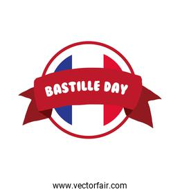 bastille day lettering and ribbon hand draw style