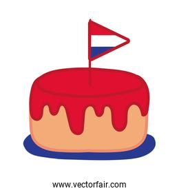 france flag in cake hand draw style icon