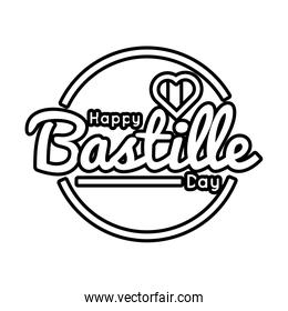 bastille day lettering with heart line style