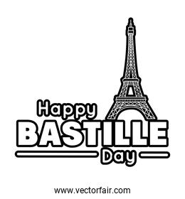 bastille day lettering with eiffel tower line style