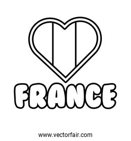 heart with france flag line style icon