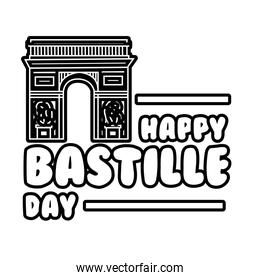 bastille day lettering with Arch of Triumph line style