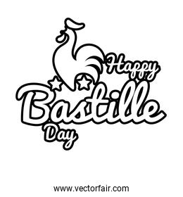 bastille day lettering with rooster line style
