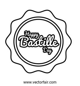 bastille day lettering in seal line style