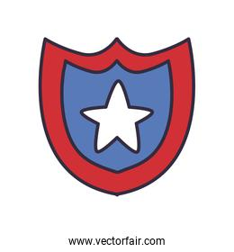 Usa shield with star fill style icon vector design