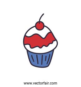 Sweet cupcake fill style icon vector design