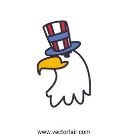 Eagle with usa hat fill style icon vector design