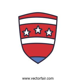 Usa shield with stars fill style icon vector design