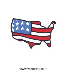 Usa flag map fill style icon vector design