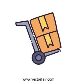 Boxes over cart flat style icon vector design