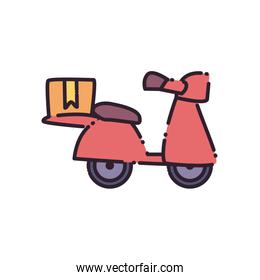 Box over motorcycle flat style icon vector design