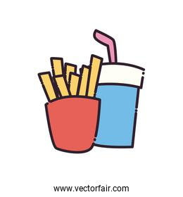 french fries and soda mug flat style icon vector design