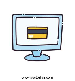 Credit card inside computer flat style icon vector design