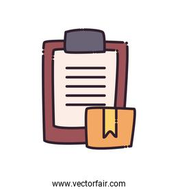 Box and document flat style icon vector design