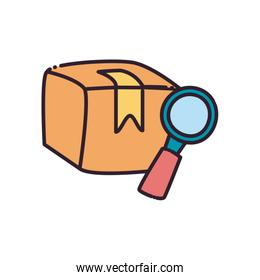 Box and lupe flat style icon vector design