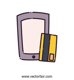 Credit card and smartphone flat style icon vector design