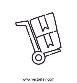 Boxes over cart line style icon vector illustration