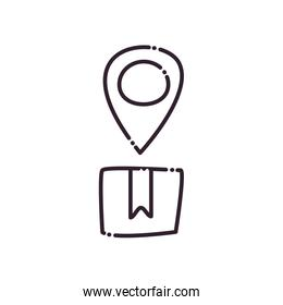 gps mark over box line style icon vector design