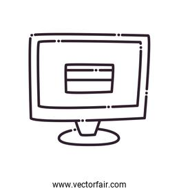 Credit card inside computer line style icon vector design