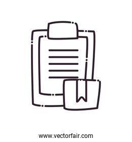 Box and document line style icon vector design