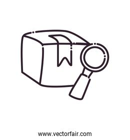 Box and lupe line style icon vector design