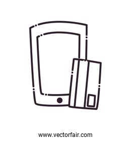 Credit card and smartphone line style icon vector design