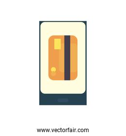 credit card inside smartphone flat style icon vector design