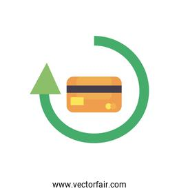 credit card inside arrow flat style icon vector design
