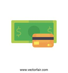 bill and credit card flat style icon vector design