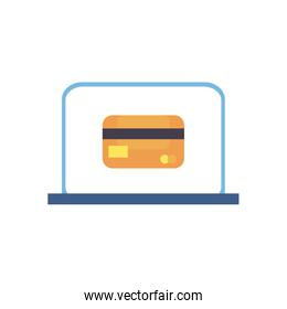 credit card inside laptop flat style icon vector design
