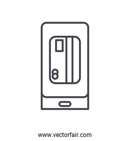 credit card inside smartphone line style icon vector design