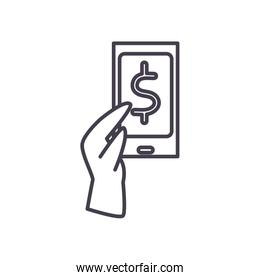 hand holding smartphone with dollar symbol line style icon vector design