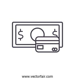 bill and credit card line style icon vector design