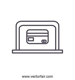 credit card inside laptop line style icon vector design