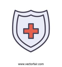 Medical shield with cross fill style icon vector design